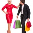 Couple with shopping bags — Foto Stock