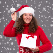 Smiling woman in santa hat with shopping bag — Stock Photo