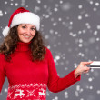 Smiling woman in santa hat credit card — Stock Photo
