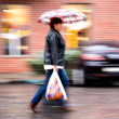 Woman walking down the street on a rainy day — Stock Photo #35708563