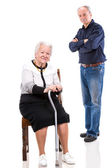 A grown son with his aging mom — Stock Photo