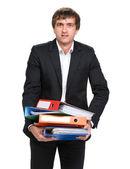 Businessman with folders — Stock Photo