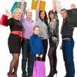 Happy group of shopping people — Stock Photo