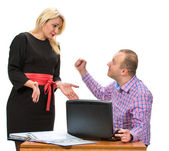 Angry businessman shouting at his assistant — Stockfoto