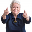 Old woman showing ok sign — Stock Photo #39645383