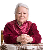Thoughtful old woman — Stock Photo