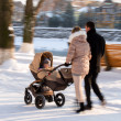 Stock Photo: Parents walking with child in stroller