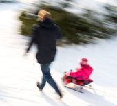 Father with his daughter in a sleigh ride — 图库照片