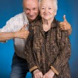Stock Photo: Senior son with old mother