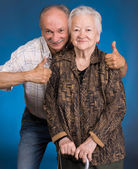 Senior son with old mother — Stock Photo
