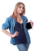 Smiling girl with tablet pc computer  — Stock Photo