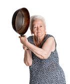 Naštvaná žena s mísou — Stock fotografie