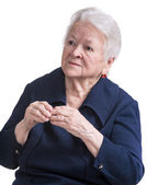 Old woman with painful fingers — Stock Photo