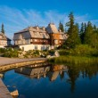 Resort area near mountain lake in National Park High Tatra — Stock Photo