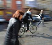 People going along the street — Stok fotoğraf