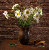 Daisies in vase and bakery pieces of bread — Stock Photo