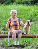 Old woman and her dog — Stock Photo