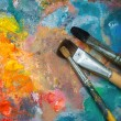 Oil paints and paint brushes — Stock Photo #50536799