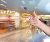 Man pointing a finger at copyspace — Stock Photo