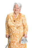 Smiling old woman holding money in hands  — Stock Photo