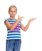 Young beautiful smiling girl with pointing hand  — Stok fotoğraf