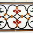 Detail of pietra dura inlaid work in Taj Mahal - Stock Photo