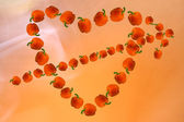 Valentine of paprika, made in the shape of a heart with an arrow — Stock Photo