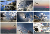 Airbus A380, Sukhoi Superjet 100, helicopter Ka 52 Alligator, Mi — Stock Photo