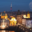 Night panorama of Prague, Czech Republic. - Stock Photo