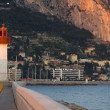 Lighthouse of Menton on the french riviera, region Provence, dep - Stock Photo