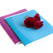 twee notebooks en rozen — Stockfoto