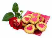 Heart-shaped cookies, rose — Stock Photo