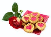 Hjärtformade kakor, ros — Stockfoto