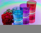 Colored glasses of water — Stock Photo