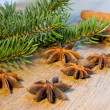 Star anise and spruce branches — Stock Photo #36940985