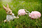 Easter bunnie and blue Scilla — Stock Photo