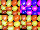 Collage of colourful balloons in orange, yellow , pink and blue — Stock Photo