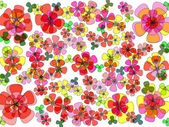 Bright modern floral abstract design in red yellow green purple and orange on plain white background — Stock Photo
