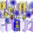 Royalty-Free Stock Photo: Bright  floral abstract design in purple blue   yellow and black  on plain white background