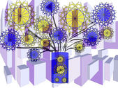 Bright floral abstract design in purple blue yellow and black on plain white background — Stock Photo