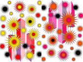 Bright abstract design in pink yellow red and black on plain white background — Stock Photo