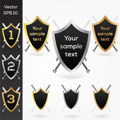 Set of golden, silver and bronze shields. — Stock Vector