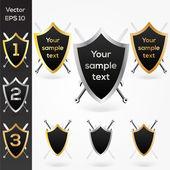 Conjunto de escudos de ouro, prateado e bronze. — Vetor de Stock