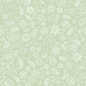 Seamless doodle love in green — Vector de stock
