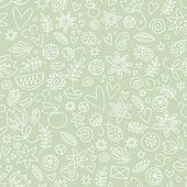 Sömlös doodle kärlek i grönt — Stockvektor