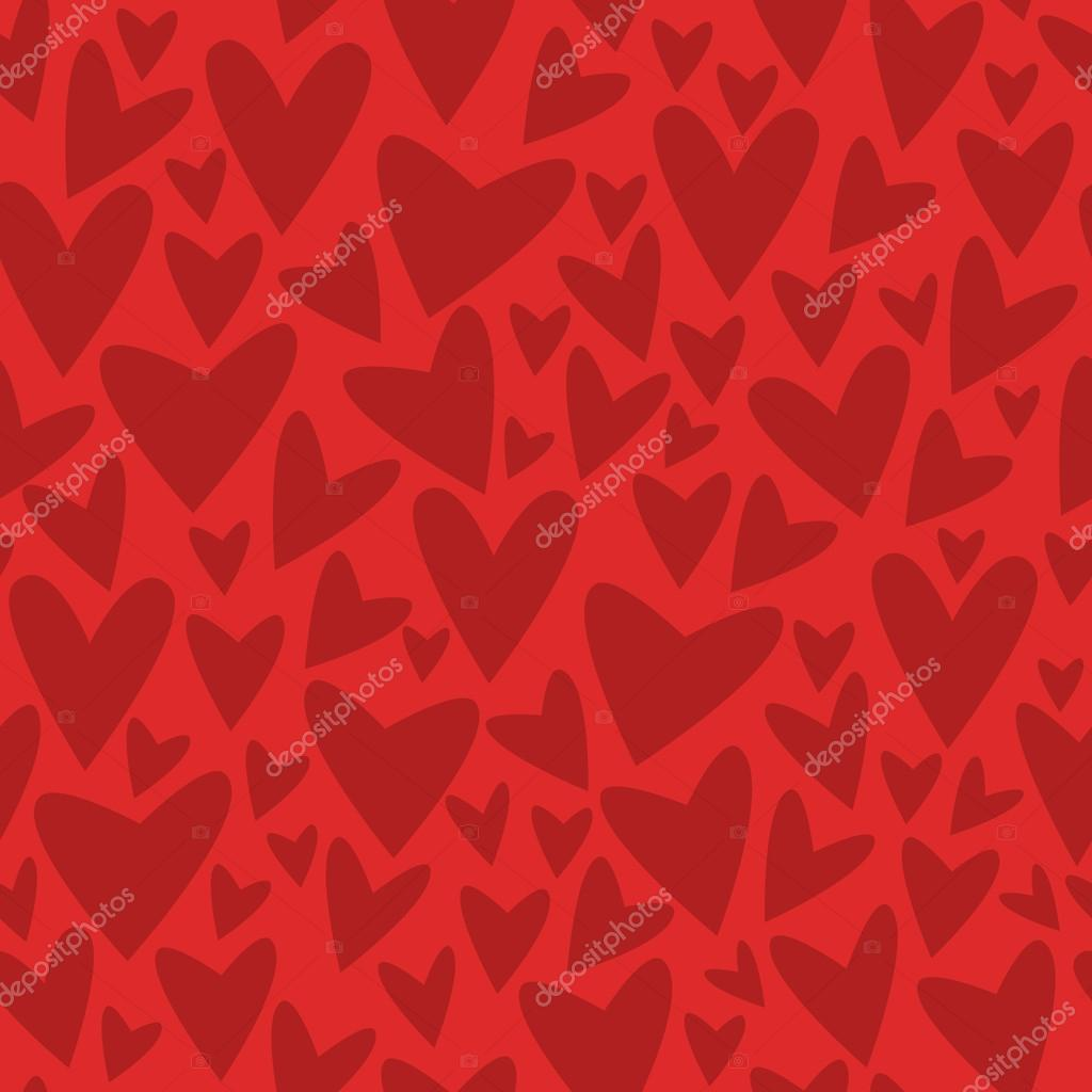 Red seamless pattern with doodle hearts. Vector illustration.  Stock Vector #17407761