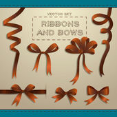 Big set of brown gift bows with ribbons. — Stock Vector