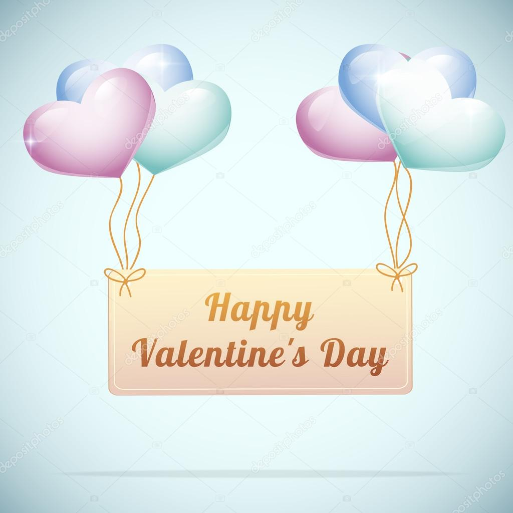 Valentine's day gift card with balloons. Vector illustration — Stock Vector #18076395