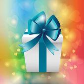 Witte geschenkdoos met blue ribbon bow — Stockvector