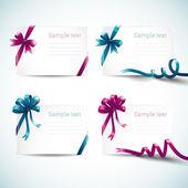 Conjunto de tarjetas de felicitación con cinta y arco — Vector de stock